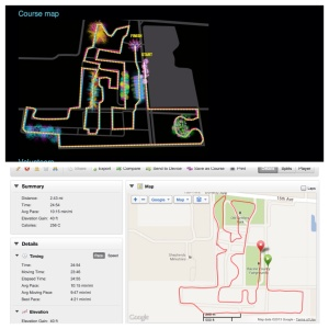 Course map and what my Garmin mapped.  Should have been a 5K, but we were 0.67 miles short!