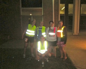 Rocking the reflective gear.