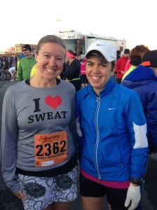 Jen and I freezing before the race