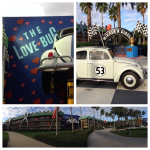 I stayed in the love bug, each building had a movie theme.
