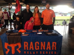 Brett, Andrew and I all manning the Ragnar table at the Milwaukee Spartan Race