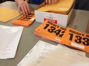 getting the race bib's ready