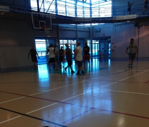 the guys playing ball, the running track is around the gym so I could see them play while I ran.